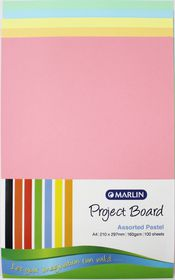 Marlin A4 Project Board 160gsm 100's - Assorted Pastel