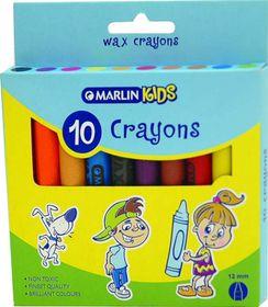 Marlin Kids 10 12mm Wax Crayons