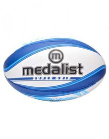 Medalist Super Grip Rugby Ball Size 5 - Blue/White
