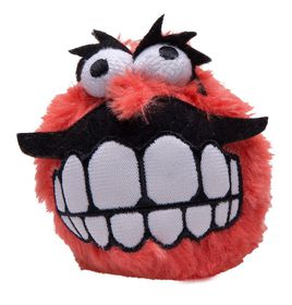 Rogz Fluffy Grinz Small 5.5cm Dog Plush Squeak Toy - Red
