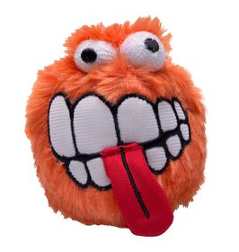 Rogz Fluffy Grinz Medium 6.5cm Dog Plush Squeak Toy - Orange