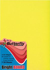 Butterfly A4 Bright Board 50s - Yellow