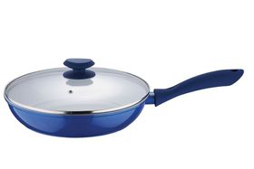 Wellberg 28cm Frypan with Lid - Blue