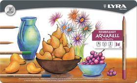 Lyra Rembrandt Aquarelle Pencils - 36 Colours in Metal Box