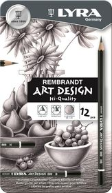 Lyra Rembrandt Art Design Set - 12 Graphite Pencils in Metal Box