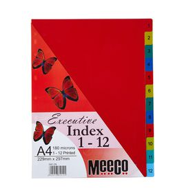 Meeco Executive A4 12 Tab (1-12) Multi Colour Indexes
