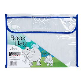 Meeco Book Bag with Velcro Closure - Blue Piping