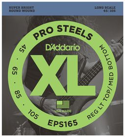 D'Addario EPS165 ProSteels 4-String Long Scale Custom Lights Bass Guitar Strings - 45-105