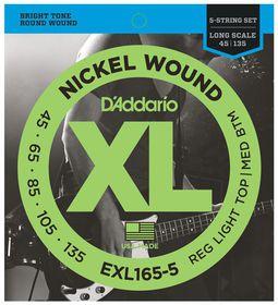 D'Addario EXL165-5 Nickel Wound 5-String Long Scale Custom Light Bass Guitar Strings - 45-135