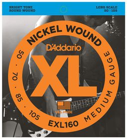D'Addario EXL160 Nickel Wound 4-String Long Scale Medium Bass Guitar Strings - 50-105