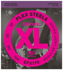 D'Addario EFX170 FlexSteels Bass Long Scale Light Bass Guitar Strings - 45-100
