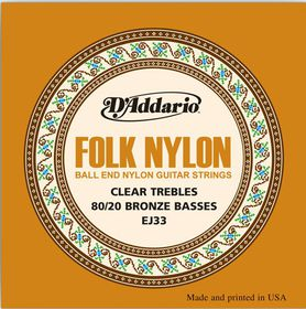 D'Addario EJ33 Folk Nylon Ball End 80/20 Bronze/Clear Nylon Trebles Guitar Strings