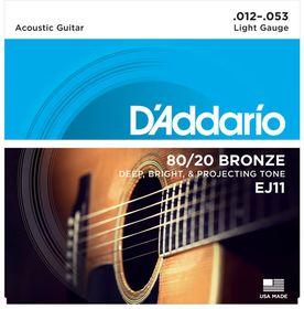 D'Addario EJ11 80/20 Bronze Light Acoustic Guitar Strings - 12-53