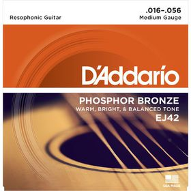 D'Addario EJ42 Phoshor Bronze Medium Resophonic Guitar Strings - 16-56