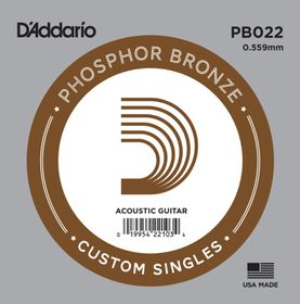 D'Addario PB022 Phosphor Bronze Wound Single Acoustic Guitar String - .022