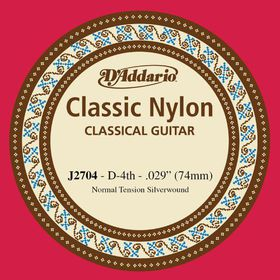 D'Addario J2704 Student Nylon Normal Tension Classical Guitar Single String - D Fourth String