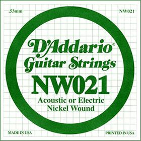 D'Addario NW021 Nickel Wound Single Electric Guitar String - .021