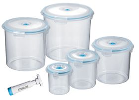 Stoneline - 5 Piece Round Vacuum Saver Storage Containers - Blue
