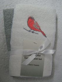 Zorbatex - 2 Piece Bird Guest Towel Gift Set - White