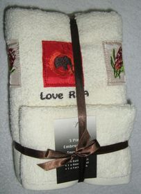 Zorbatex 3 Piece Embroidered Love RSA Towel Gift Set - Beige