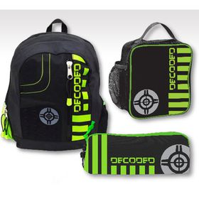 Eco Decoded 3-in-1 Student Backpack Set - Black & Lime
