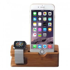 Tuff-Luv Moulded Bamboo Wood Charging Stand for Apple Watch & iPhone 5s/5C/6/6S - Brown