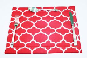 Balducci 100% Polyester Amboise Design Placemats Set Of 6 - Red