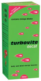 Turbovite Decaf Syrup - 200ml