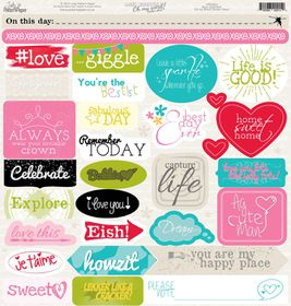 Lady Pattern Paper Basic Essentials Oh My Word! Sticker Sheet