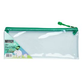 Meeco Clear Large (34cm) Pencil Bag - Green Zip