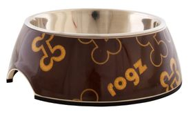 Rogz Lapz 2-in-1 Brown Bones Bubble Bowl - Small