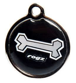 Rogz ID Tagz Black Bone Metal Tag - Small