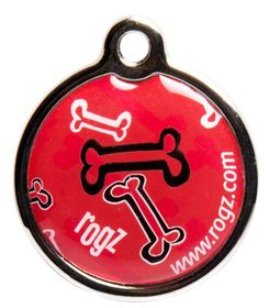 Rogz ID Tagz Red Rogz Bone Metal Tag - Small