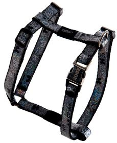 Rogz Lapz Trendy Black Bones Dog H-Harness - Small