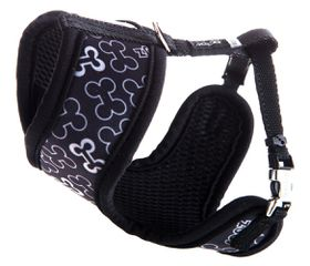 Rogz Lapz Trendy Black Bones Wrapz Harness - Extra Small