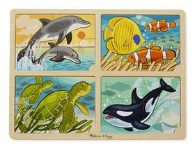 Melissa & Doug 4 in 1 Sea Life Wooden Jigsaw Puzzle - 16 Piece