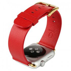 Tuff-Luv Classic Buckle Genuine Leather WatchBand for the Apple Watch 42mm - Red