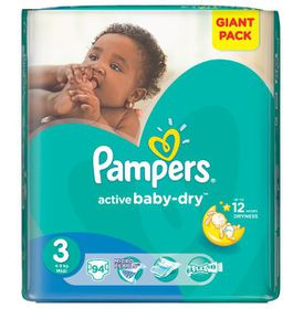 Pampers - Active Baby Nappies - Size 3 - Giant Pack