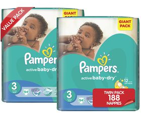 Pampers - Active Baby Nappies - Size 3 - Giant Twin Pack (2 x 94 count)