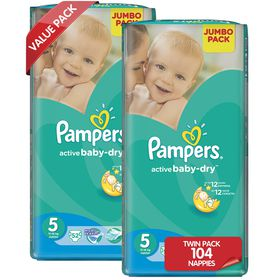 Pampers - Active Baby Nappies - Size 5 - Jumbo Twin Pack (2 x 52 count)