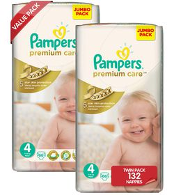 Pampers - Premium Care Nappies - Size 4 - (2 x 66 Count)