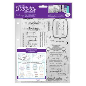 Docrafts Creativity Essentials A5 Clear Stamp Set - Birthday Verses