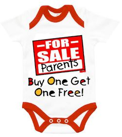 """The Funky Shop - """"Parents for Sale - buy one - get one free"""" Baby Grow"""