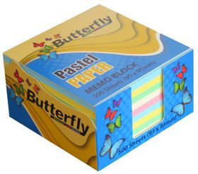 Butterfly Memo Block (95 x 95mm) 500 Sheets - Pastel Paper