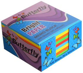 Butterfly Memo Block (95 x 95mm) 500 Sheets - Bright Paper