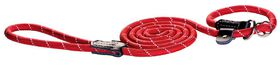 Rogz - Rope Medium 0.9cm 1.8m Long Moxon Dog Rope Lead - Red Reflective