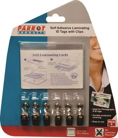 Parrot Self Adhesive Laminating ID Tags with Clips 6's