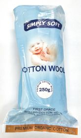 Simply Soft Organic Cotton Wool Roll - 250g