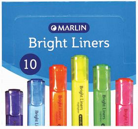 Marlin Bright Liners Highlighters - Purple (Box of 10)