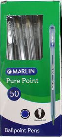 Marlin Pure Point Medium Transparent Ballpoint Pens - Blue Ink (Box of 50)